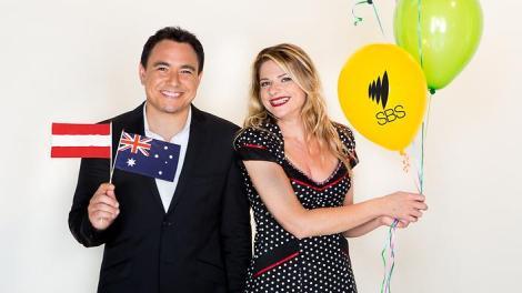 Australia's commentary team, Julia Zemiro and Sam Pang